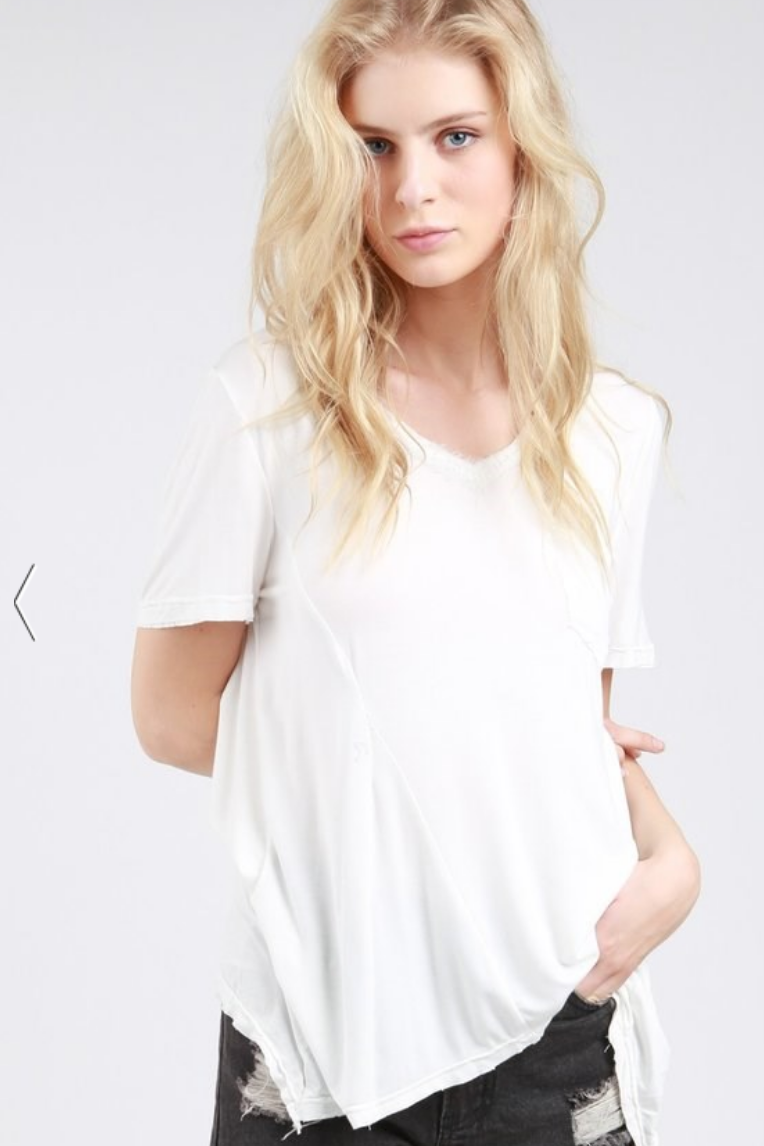 Ivory Super Soft V Neck Tee with Chest Pocket