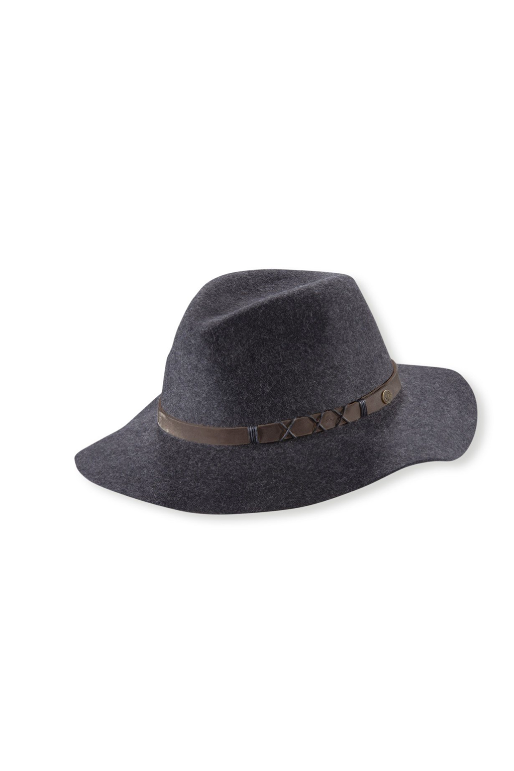 Soho Wool Wide Brim Hat With Leather Trim