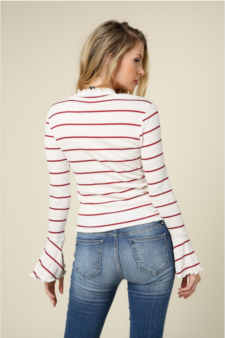 Red Stripe Ruffled Mock Knit Top