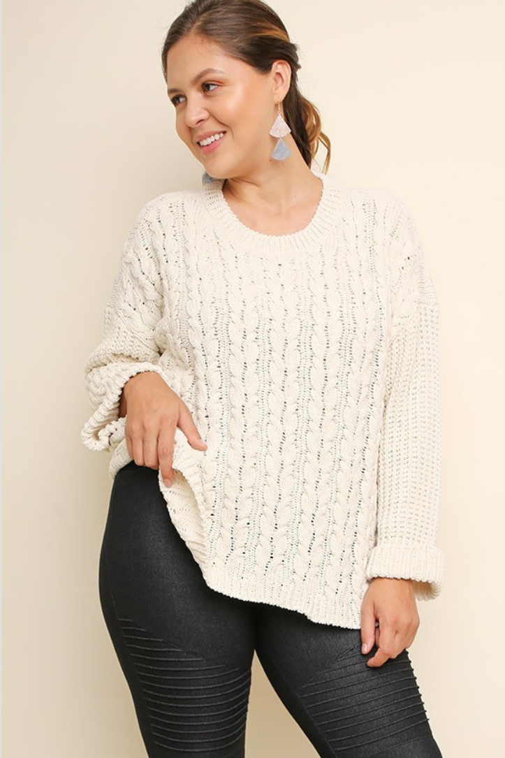 Cozy Chenille Cuffed Cable Knit Sweater