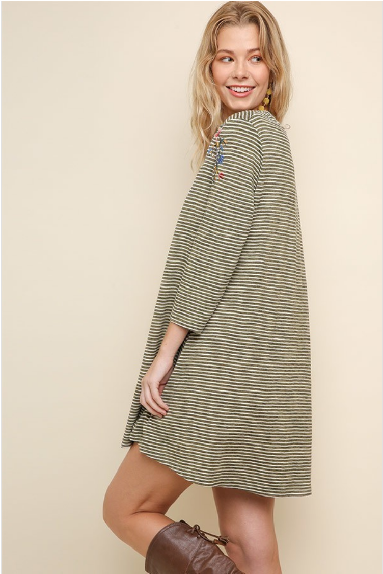 Olive Striped Jersey Tee Shirt Dress with Embroidery