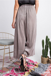 Silver Pleated Wide Leg Pants