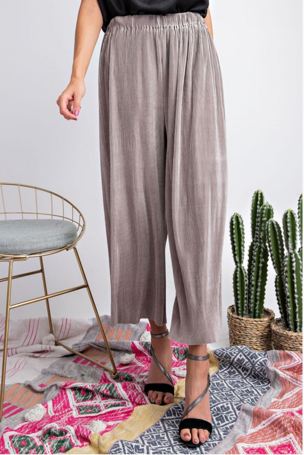 Silver Pleated Wide Leg Pants - Terra Cotta