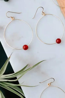 Topaz & Pearl - Simple Beaded Hoop Earrings