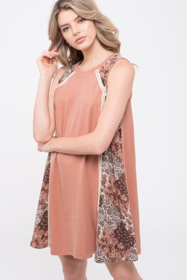 Sleeveless Knit Boho Dress Terra Cotta