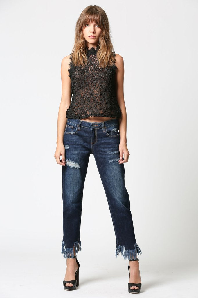 Hidden Jeans- BAILEY DARK WASH EXTREME FRAYED HEM SLIM BOYFRIEND