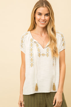 Spanish Embroidered Peasant Blouse