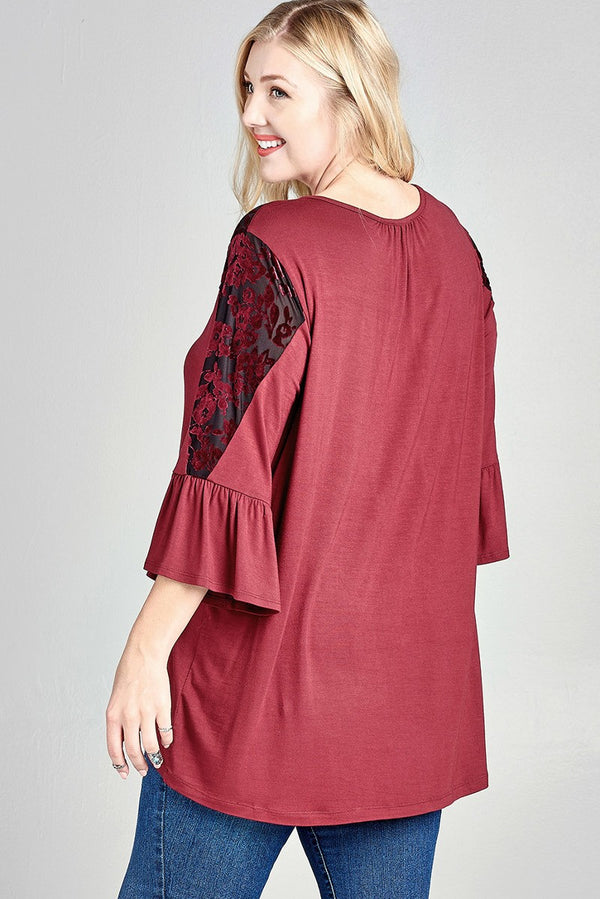 Loose Knit Top with Burn-Out Velvet Floral Panel - Terra Cotta