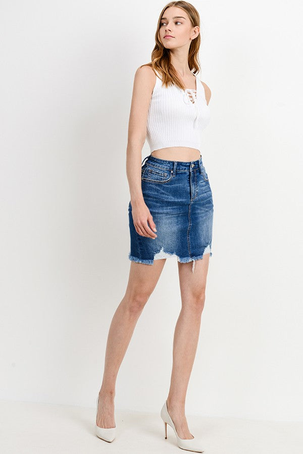 Mid-Rise Denim Skirt - Terra Cotta