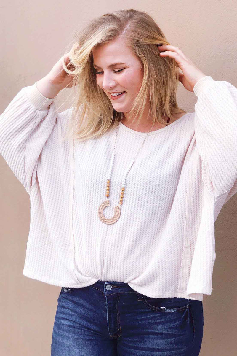 Taupe Open Back Sweater Top Terra Cotta