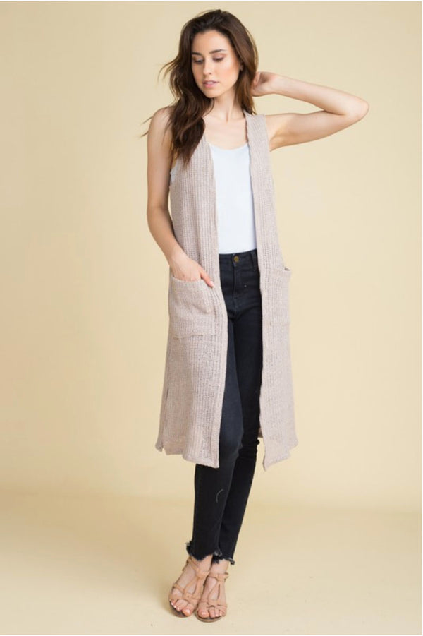 Taupe Sleeveless Knit Duster Terra Cotta