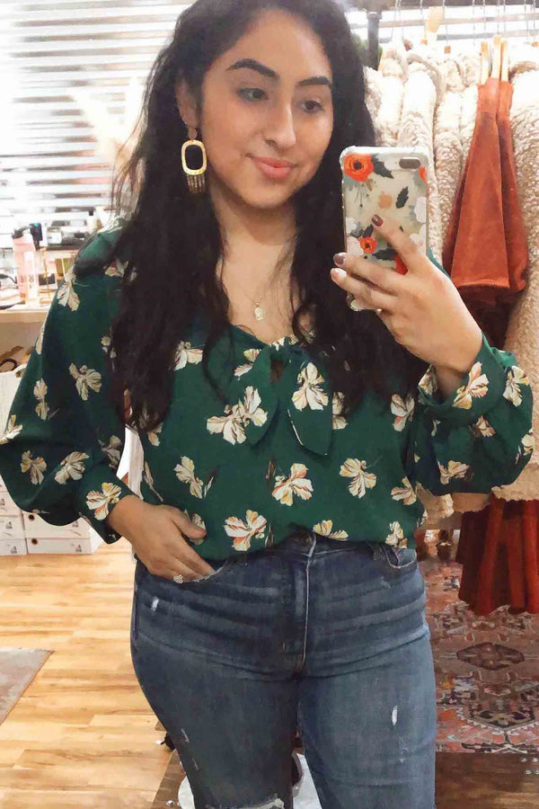 Lush Teal Floral Blouse Terra Cotta