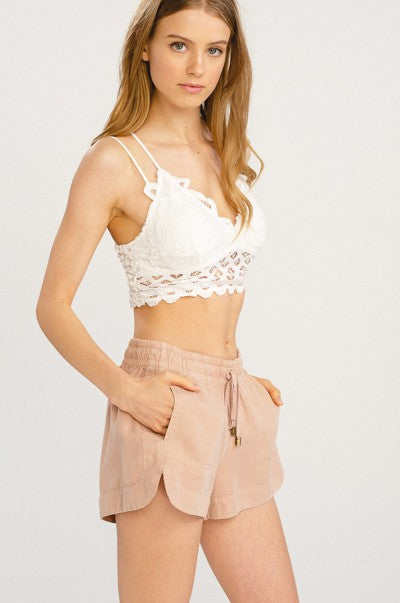 Ivory Double Strap Scalloped Lace Bralette - Terra Cotta