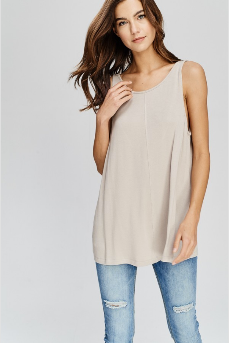Taupe Knit Oversized Tank