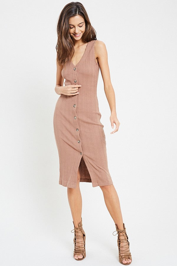 Bodycon Button Down Midi Dress