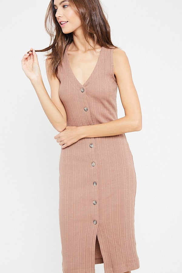 Bodycon Button Down Midi Dress - Terra Cotta