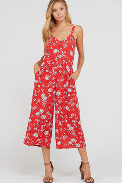 Red Floral Print Jumpsuit - Terra Cotta