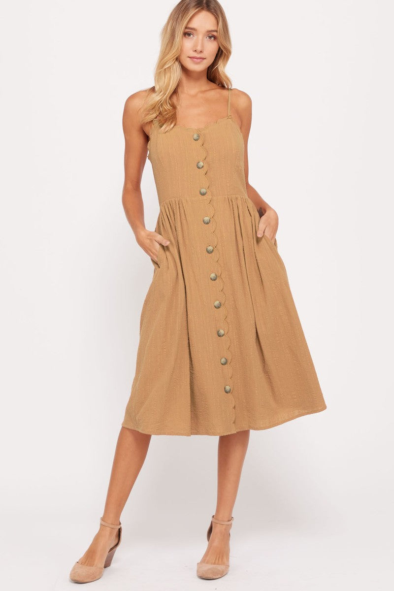 Camel Scalloped Dress