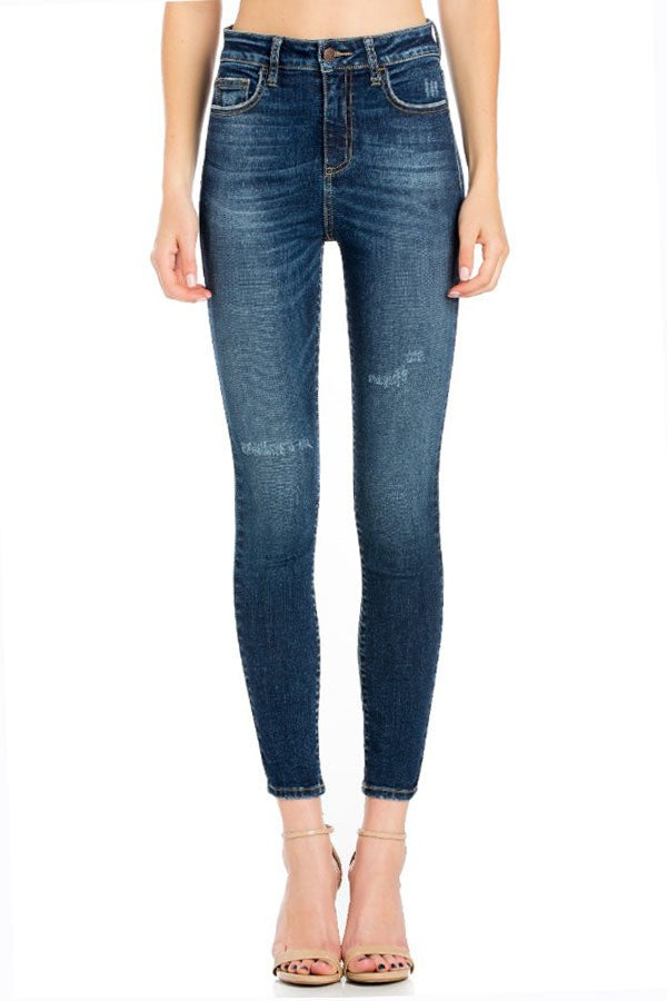 High Rise Medium Wash Solid Jeans
