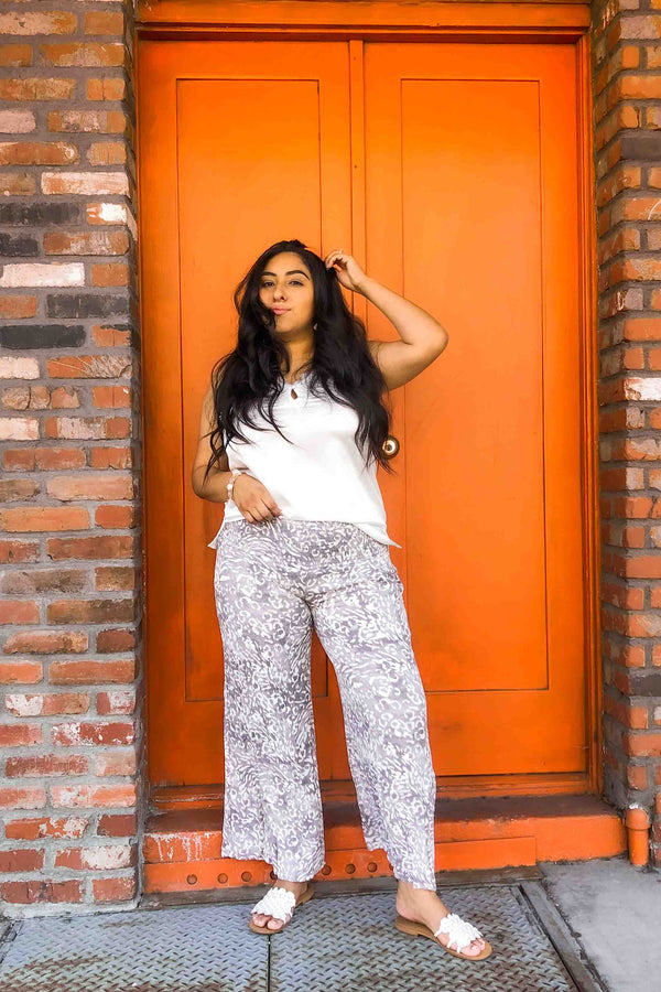 White and Gray Leopard Wide Leg Trouser Terra Cotta