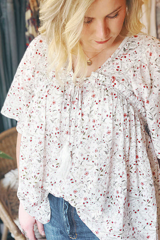 Curvy Woven Floral and Plaid Blouse
