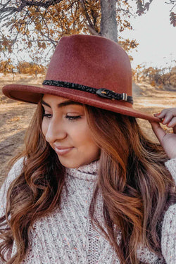 Wine Wool Panama Hat Terra Cotta