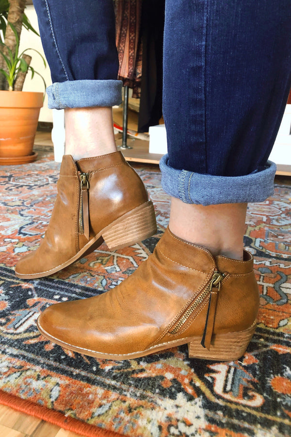 Brown Slouch Booties - Terra Cotta