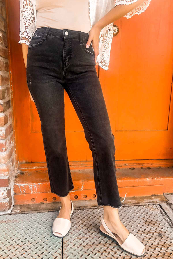 Terra Cotta Black Ankle Straight Jeans