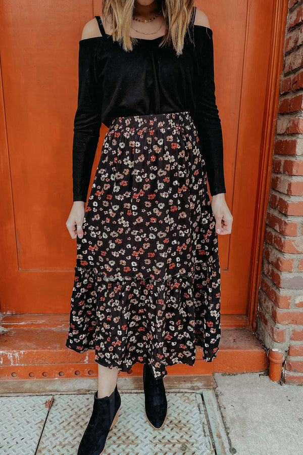 Terra Cotta Black Floral Midi Skirt