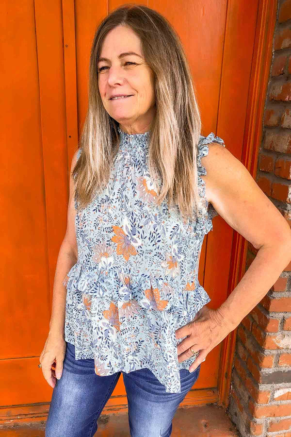 Blue Floral Mock Neck Blouse Terra Cotta