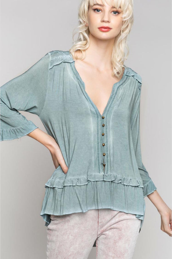 Blue Sage Boho Top Terra Cotta