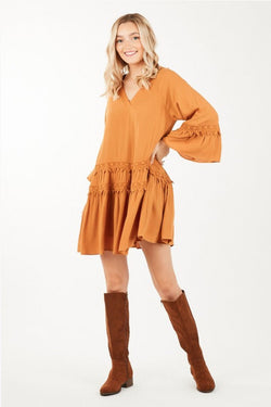 Mustard Yellow Shift Dress Terra Cotta