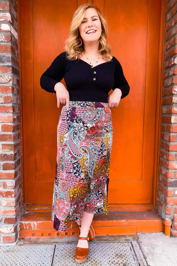 Boho Patchprint Satin Midi Skirt