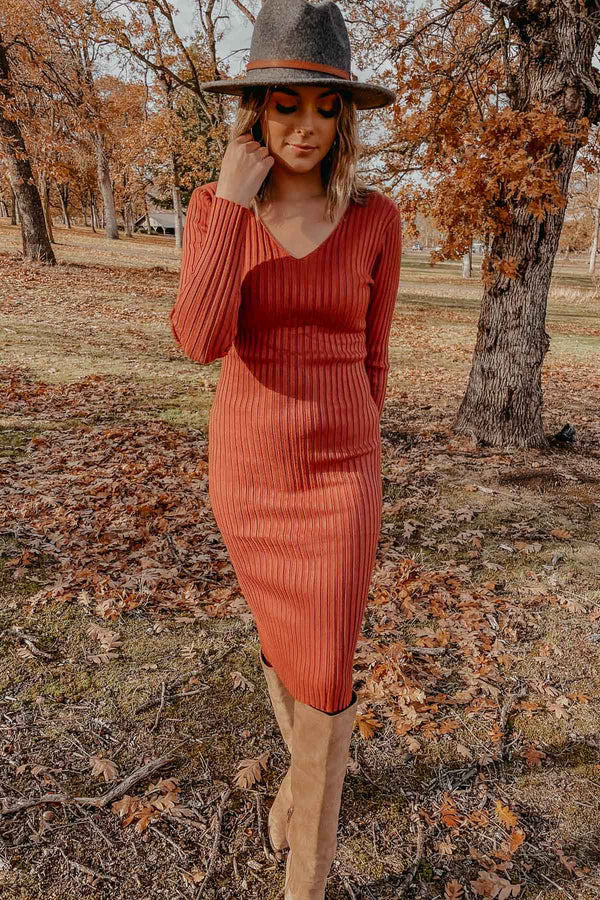 Brick Bodycon Sweater Dress Terra Cotta