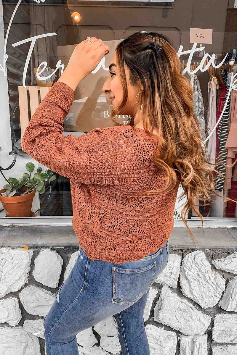 Terra Cotta Brick Crochet Sweater