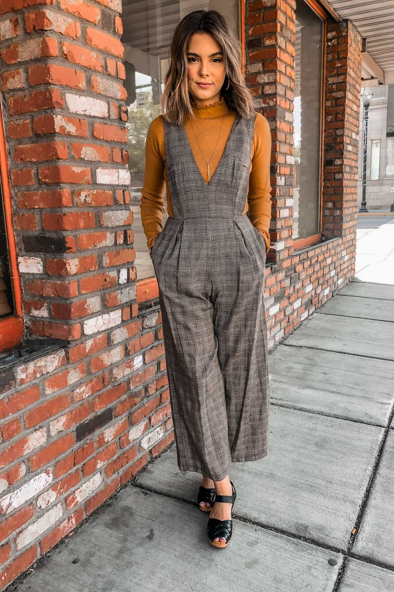Brown Plaid Jumpsuit Terra Cotta