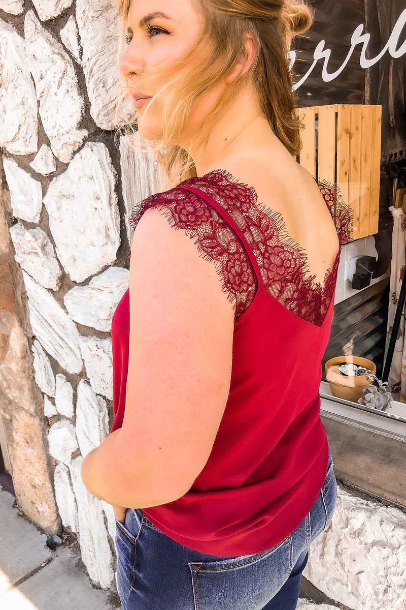 Terra Cotta Burgundy Lace Trimmed Tank