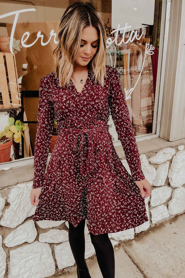 Terra Cotta Burgundy Print Dress