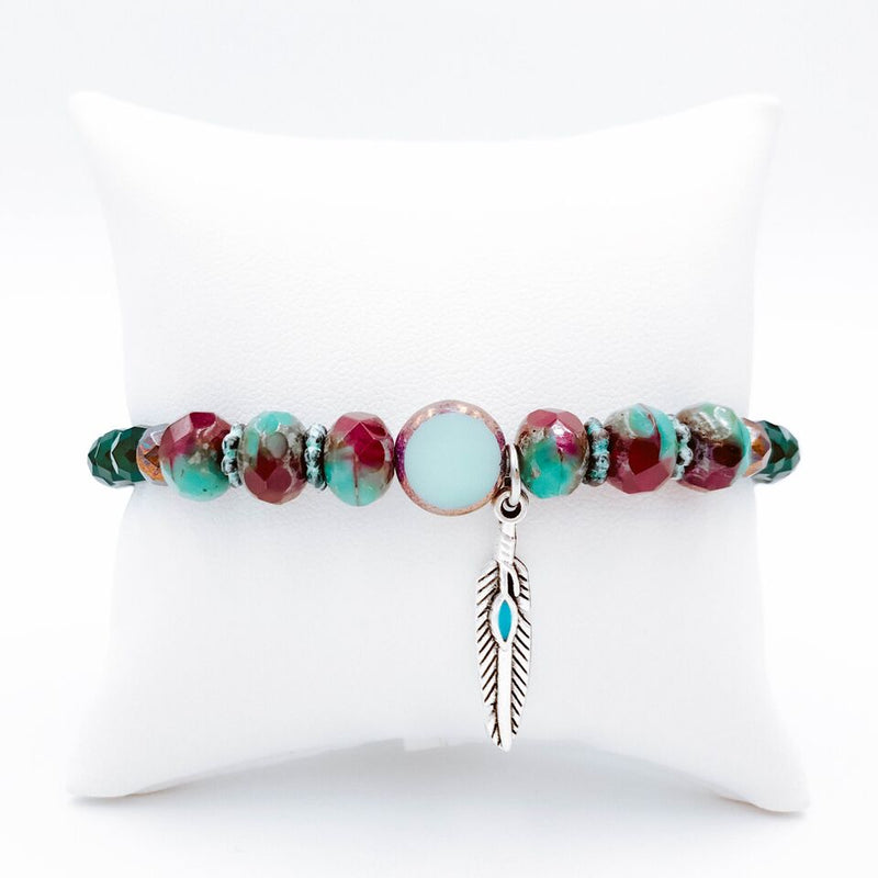Topaz & Pearl - Feather Charm Bracelet - Pack of 2