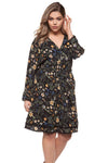 Long Sleeve Dark Florals Printed Cocktail Dress