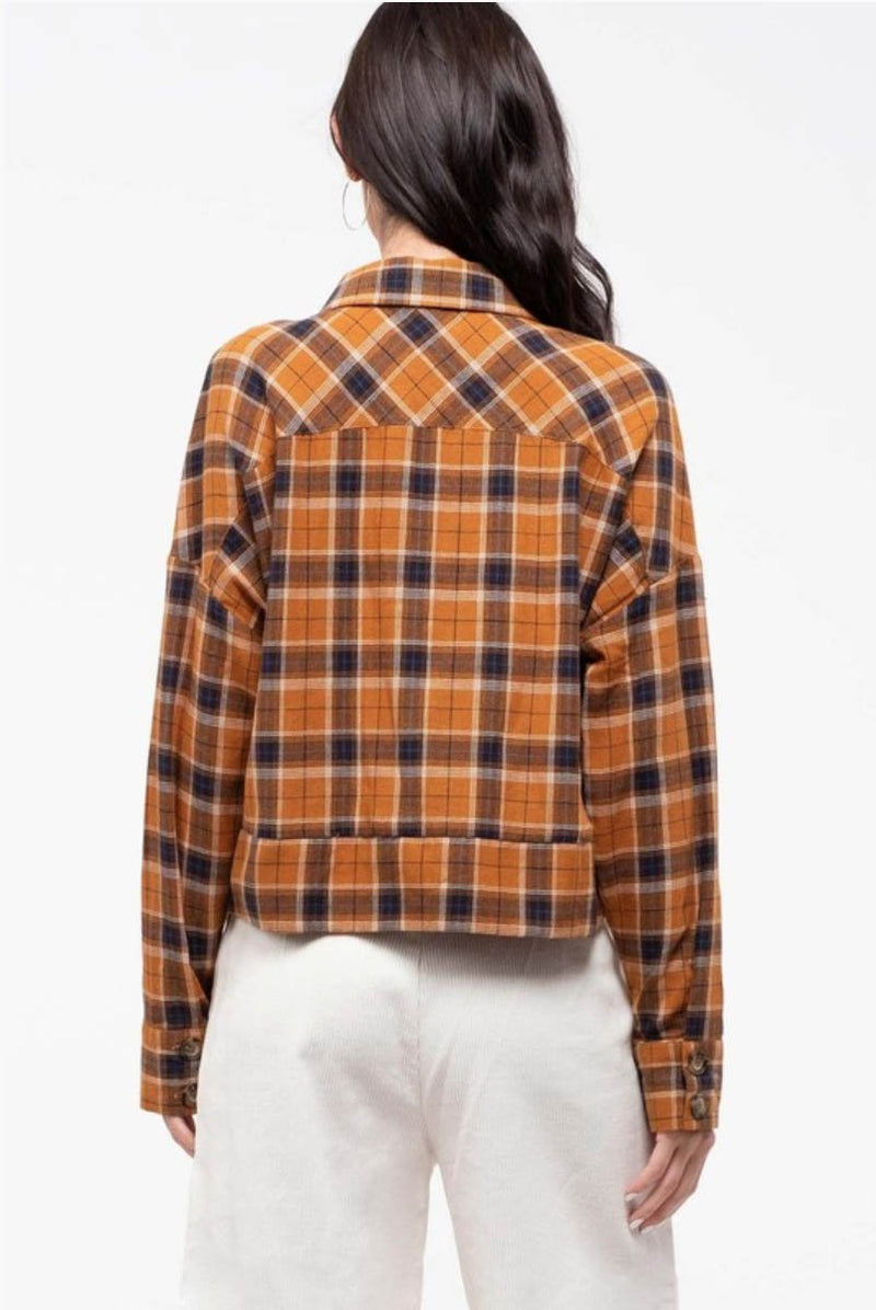 Lori Camel Plaid Top Terra Cotta