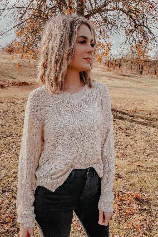 Cream Lightweight Sweater Terra Cotta