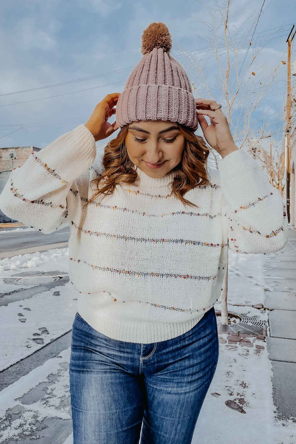 Cream Rainbow Pom Pom Sweater Terra Cotta