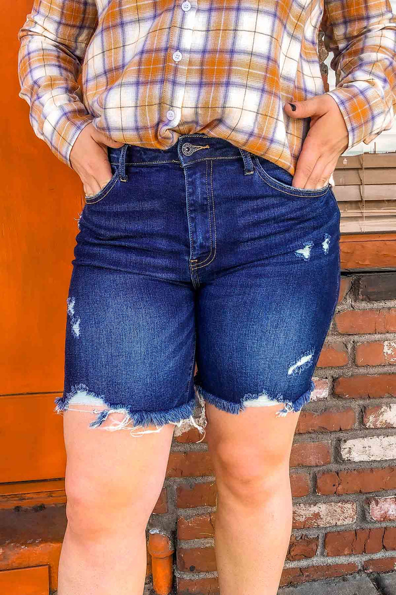 Distressed Denim Long Shorts Terra Cotta