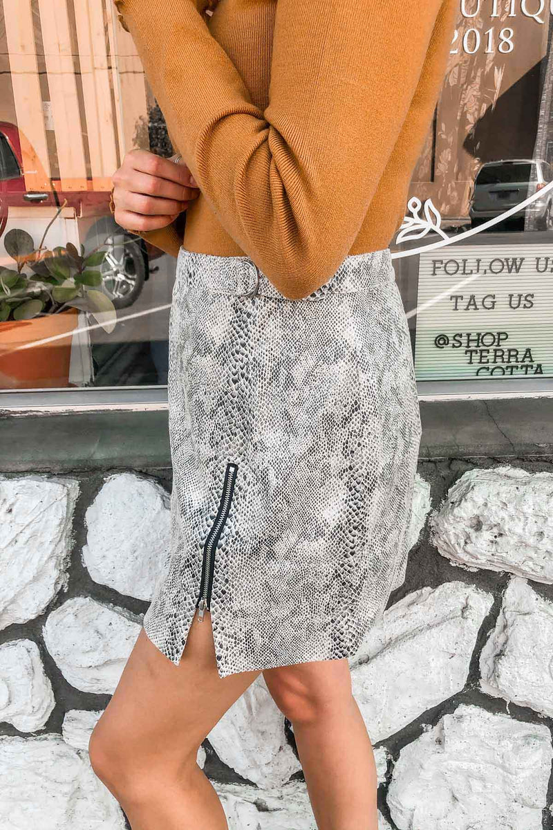Ebony Snake Print Mini Skirt Terra Cotta