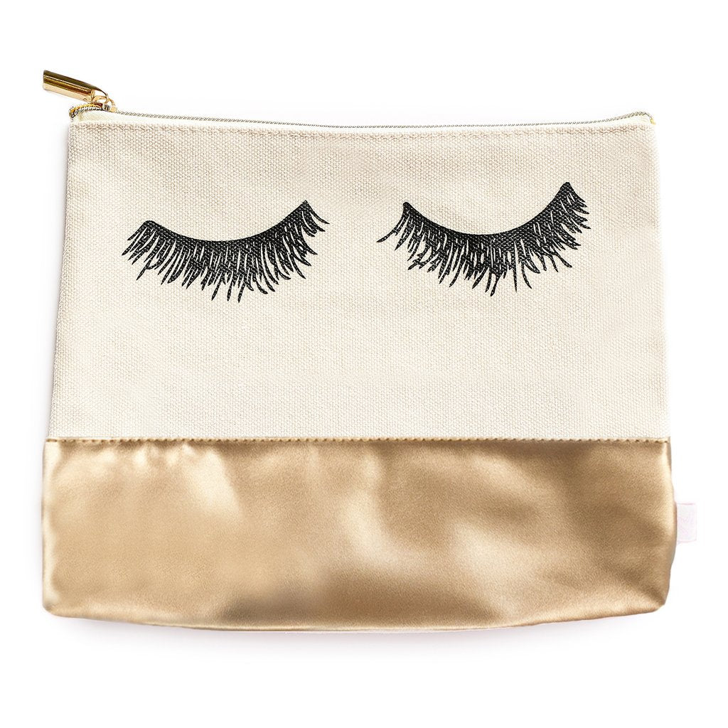 Sweet Water Decor - Eyelash Gold Leather Makeup Bag
