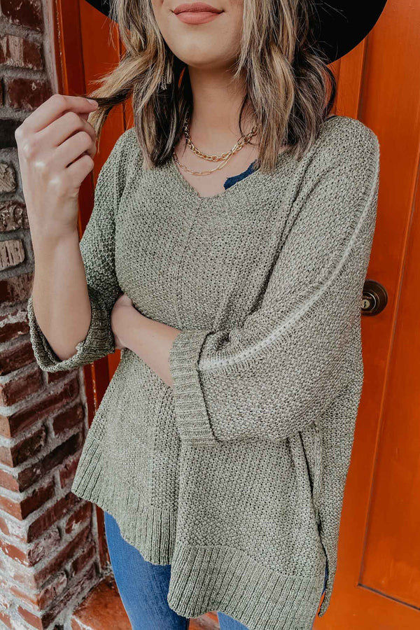 Terra Cotta Faded Olive Sweater Top