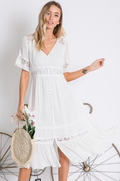 White Button Front Midi Dress