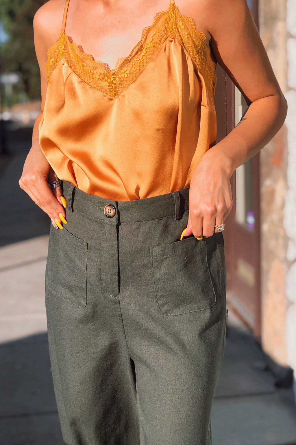 Forest Green Wide Pants