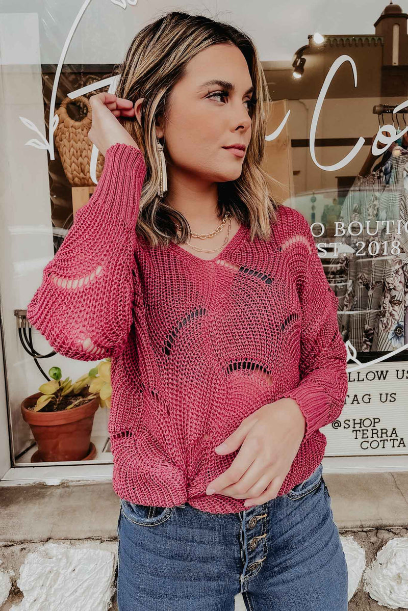 Terra Cotta French Rose Sweater